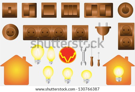 set colorful isolated objects of electrical equipment - stock photo