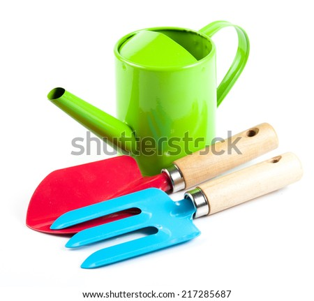 Set colorful of gardening tools on white background - stock photo