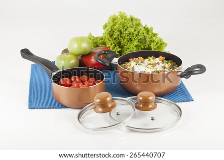 set 2 cooking pots on white background - stock photo