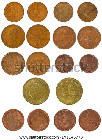Set Copper Coins South Africa 1-5 cents - stock photo