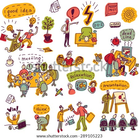 Set creative people in office business color icons isolated Doodles set with creative people, symbols and icons. Every object is separated. Color illustration. - stock photo