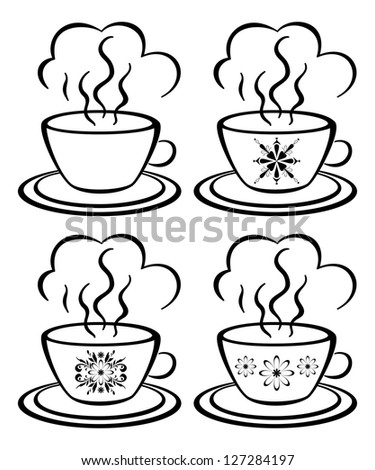 Set cups with a hot drink and floral pattern, black contour on white background. - stock photo