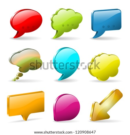 Set 3D Speech and Thought Bubbles and Arrow, illustration - stock photo