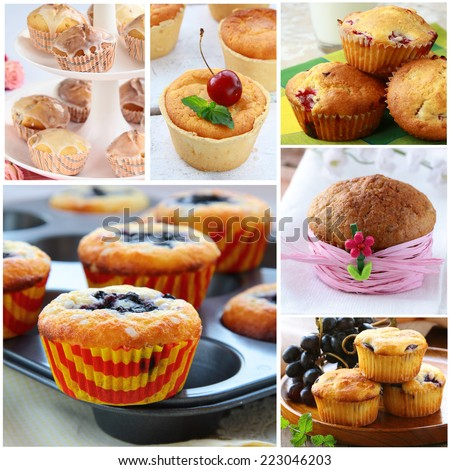 Set different homemade pastries muffins with berries - stock photo