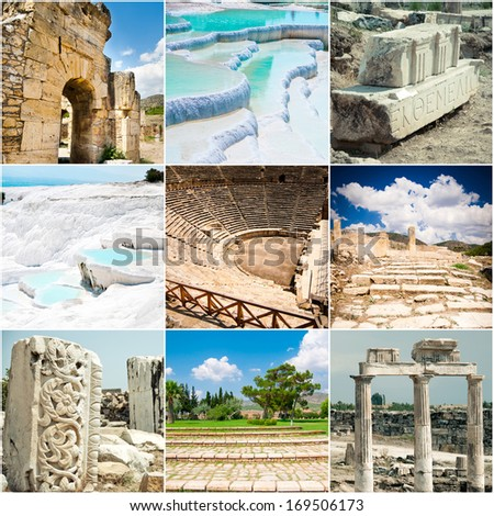 Set different Sights of ancient Pamukkale in Turkey - stock photo