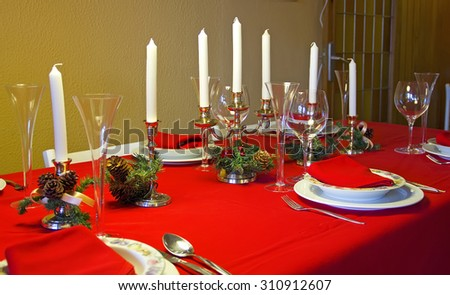 Set empty table at Christmas, indoors - stock photo