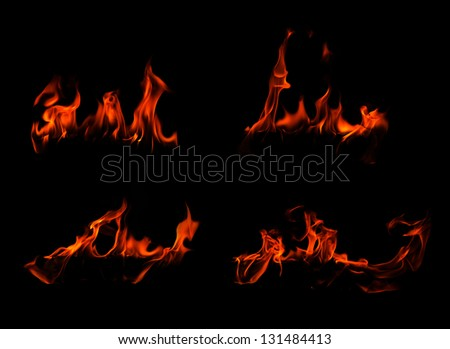 Set fire flames on a black background - stock photo