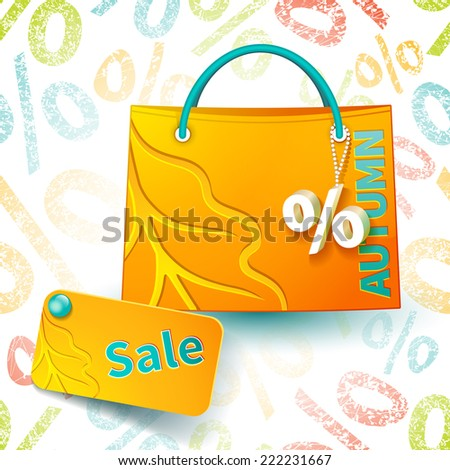 Set for promotion: bright orange shopping bag with advertising seasonal autumn sell-out and fob as a sign of percent and sale label on seamless background with percent  symbols - stock photo