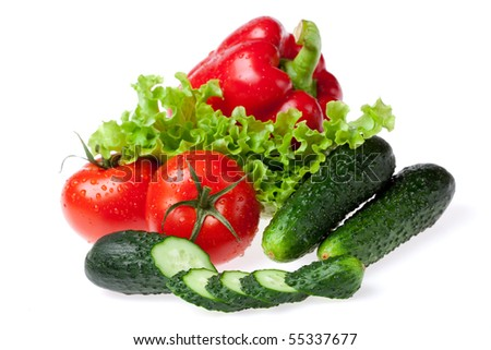 set for salad on white background - stock photo