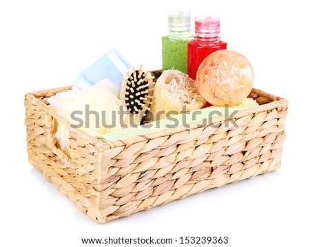 Set  for spa in wicker basket, isolated on white - stock photo