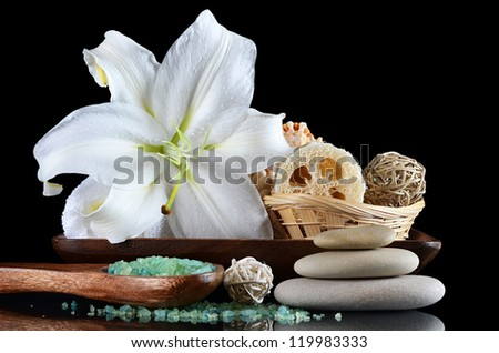 Set for spa-procedures On a black background - stock photo