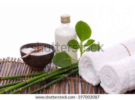 Set for spa-procedures on mat - stock photo