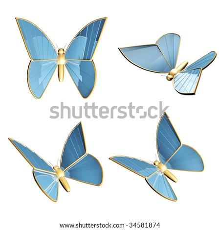 Set- four 3d golden butterflys-robots - stock photo