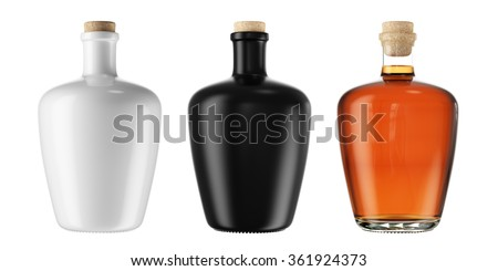 Set from alcohol tincture, balsam, whiskey, cognac, brandy bottles isolated on white background. 3D Mock up for you design. - stock photo