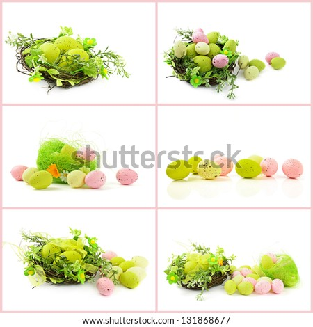 Set from decorative easter nests with egg and spring plants isolated on white background - stock photo