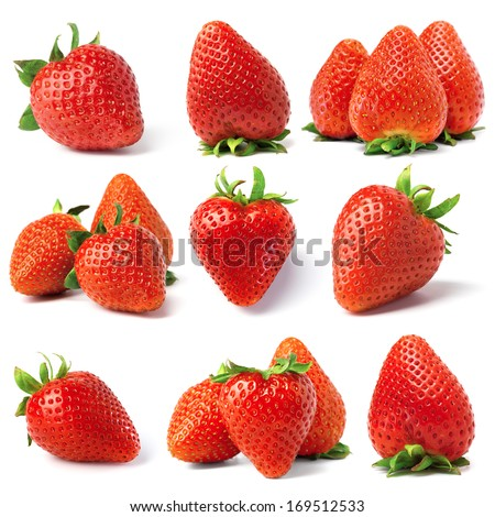 set from strawberry berries. isolated on white - stock photo