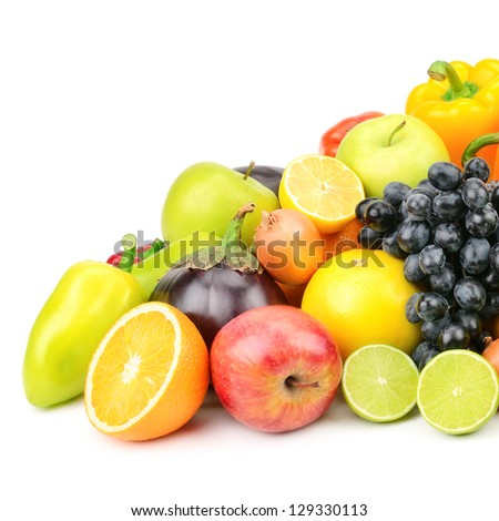 set fruit and vegetables isolated on white - stock photo