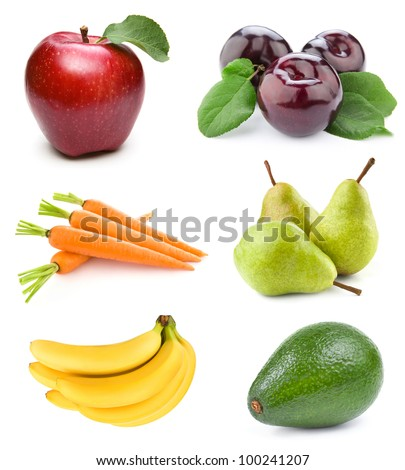 set fruit isolated on white background - stock photo