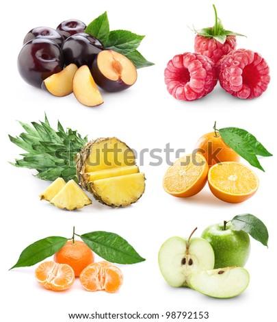set fruit isolated on white background - stock photo