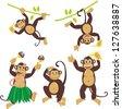 Set funny monkeys set - stock photo