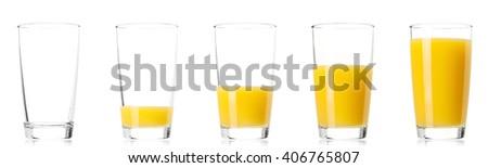 Set - glass of fresh orange juice, isolated on white background - stock photo