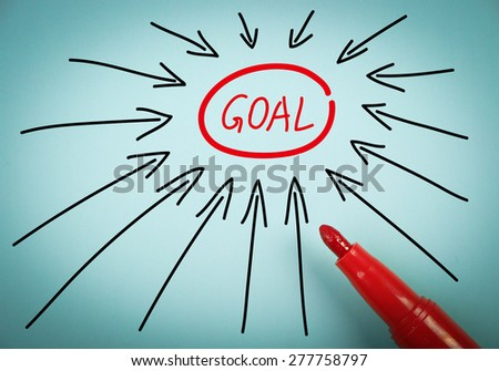 Set goal concept is on blue paper with a red marker aside. - stock photo