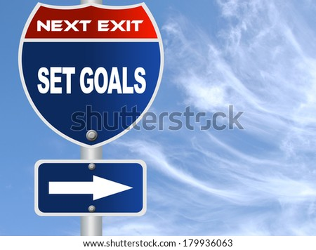 Set goals road sign - stock photo
