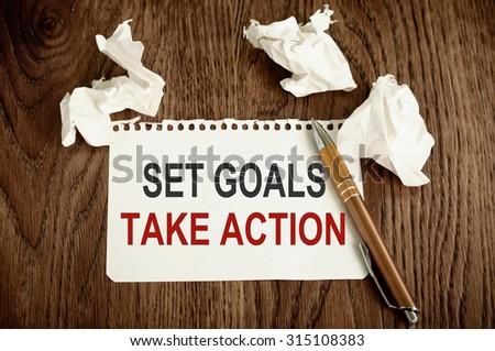 Set Goals Take Action - stock photo