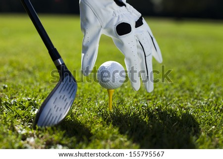 set golf ball on a tee - stock photo