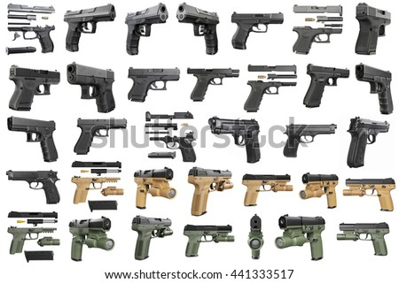 Set guns police, military, black on white background isolated. 3D graphic - stock photo