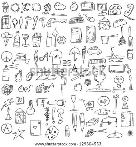set hand drawn business objects - stock photo