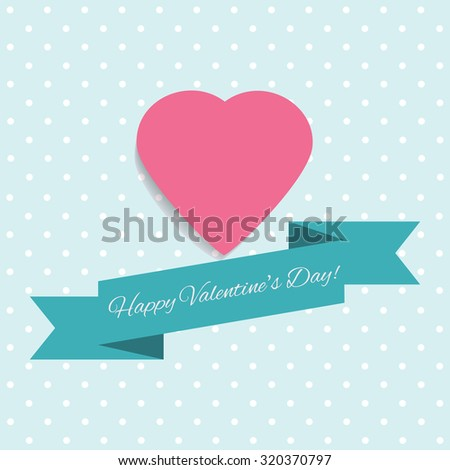 Set Happy Valentines Day cards in flat retro style. Greeting card. Suitable for various designs, invitation and scrapbook. - stock photo