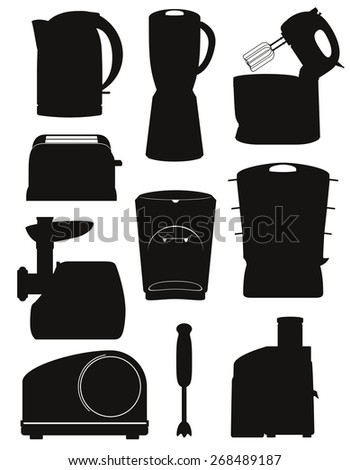set icons electrical appliances for the kitchen black silhouette illustration isolated on white background - stock photo