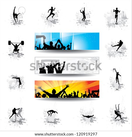 Set. Icons for sports championships and banners from happy fans - stock photo