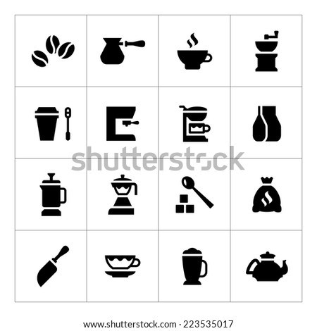 Set icons of coffee isolated on white - stock photo
