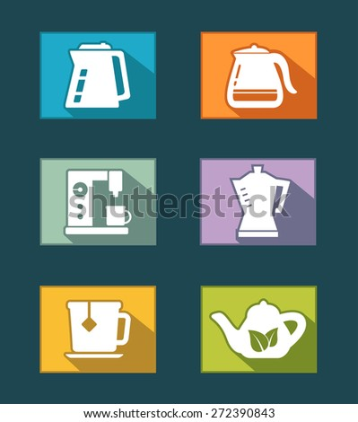 set icons of flat design for tea and coffee industry - stock photo