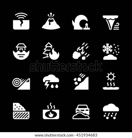 Set icons of natural disaster isolated on black - stock photo