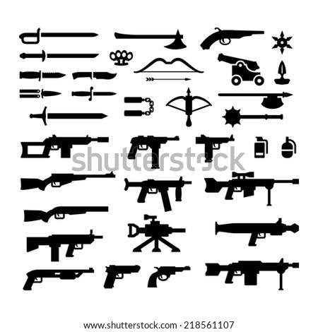 Set icons of weapons isolated on white - stock photo