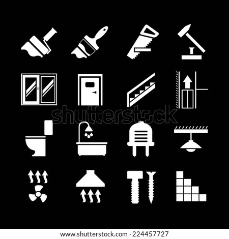 Set icons repair and building isolated on black - stock photo