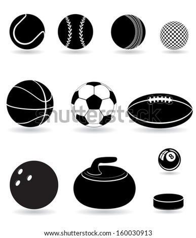 set icons sport balls black silhouette illustration isolated on white background - stock photo