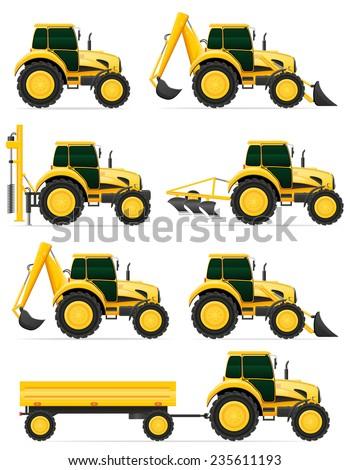 set icons yellow tractors  illustration isolated on white background - stock photo