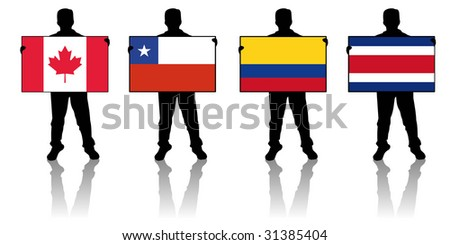 set 3 -  illustration of a man holding a flag - stock photo