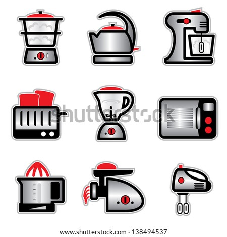 set images and icons of kitchenware and kitchen tools - stock photo