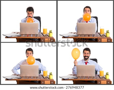 Set images of businessman in his office playing with balloon - stock photo