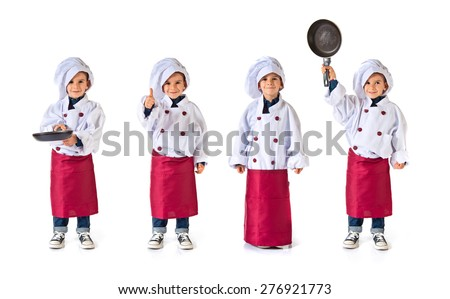 Set images of child dressed as a chef - stock photo