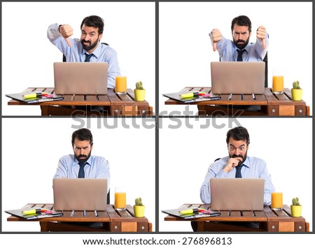 Set images of frustrated businessman - stock photo