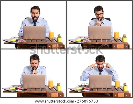Set images of frustrated businessman in his office - stock photo