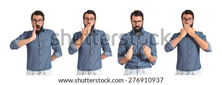 Set images of hipster man doing surprise gesture - stock photo