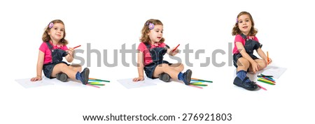Set images of kid drawing crayons over white background - stock photo