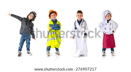Set images of kid dressed as aviator, worker, doctor and chef - stock photo
